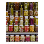 Display of pickled fruits and vegetables. print
