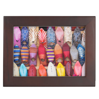 Displayed shoes in a shop in the souks keepsake box