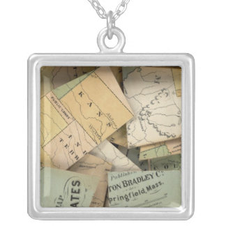 Dissected Outline Map, United States of America Silver Plated Necklace