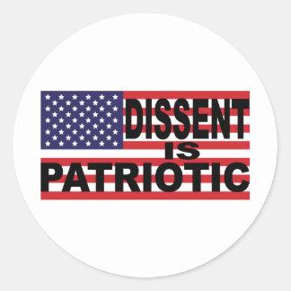 Dissent is Patriotic Round Sticker