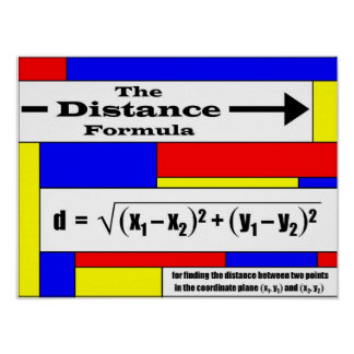 Distance Formula Poster