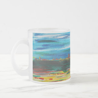 Distant Horizons a design by Viktor Tilson Frosted Glass Coffee Mug