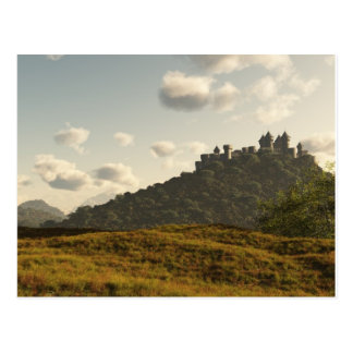 Distant Medieval Castle Postcard