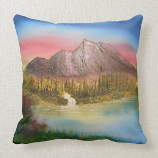 Distant mountain throw pillow