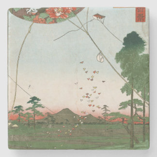 Distant view of Akiba of Enshu, kites of Fukuroi Stone Coaster