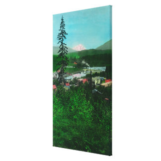 Distant View of Glacier Peak and Town Canvas Print