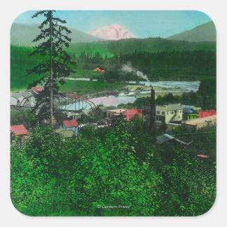 Distant View of Glacier Peak and Town Square Sticker