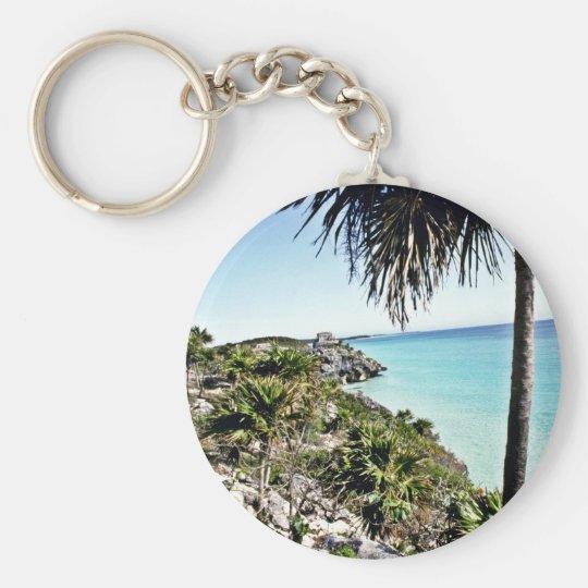 Distant View Of Mayan El Castillo, Tulum Basic Round Button Key Ring