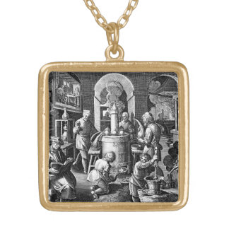 Distillation in an Alchemy Lab Square Pendant Necklace