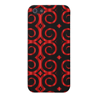 Distinctive Black Swirls (On Red) Case For iPhone 5/5S