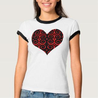 Distinctive Black Swirls (On Red) Heart T-Shirt