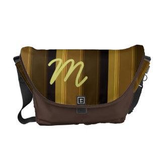 Distinguished Gentleman: Brown Striped Panels Commuter Bag