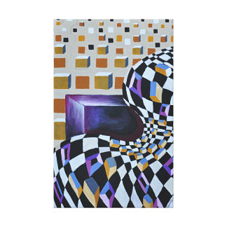 Distorted space - cubes abstract canvas print