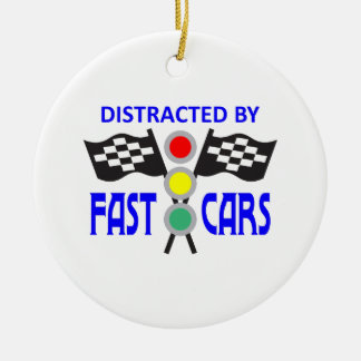 DISTRACTED BY FAST CARS CHRISTMAS ORNAMENT