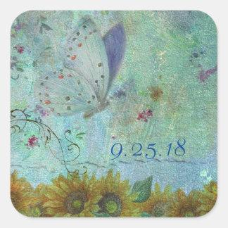 distress butterfly & sunflower custom wedding square sticker