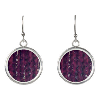 Distress Faux Burlap Design- Grape Color Earrings