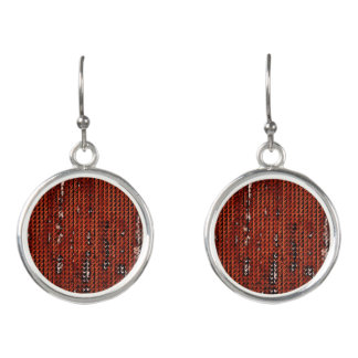 Distress Faux Burlap Design-  Terrocatta  Color Earrings