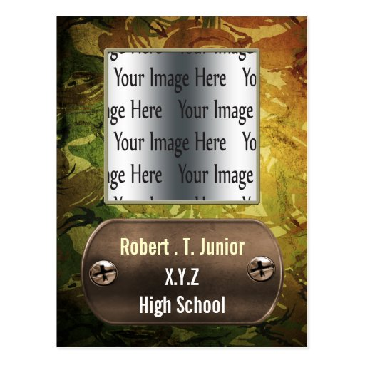 distress green camo Graduation photo Invitation Post Card