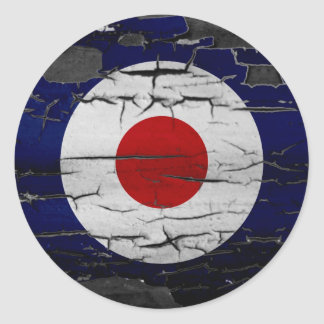 Distress Mod Target Symbol Classic Round Sticker