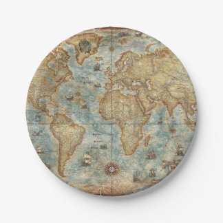 Distress Vintage antique drawn world map 7 Inch Paper Plate