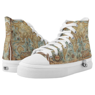 Distress Vintage antique drawn world map High Tops