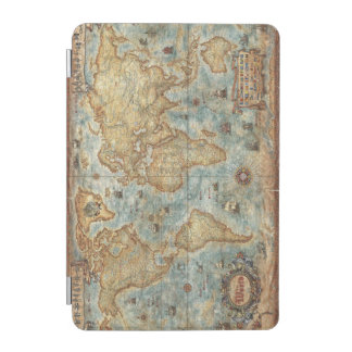 Distress Vintage antique drawn world map iPad Mini Cover