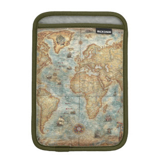 Distress Vintage antique drawn world map iPad Mini Sleeve