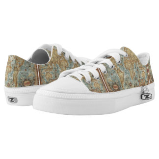 Distress Vintage antique drawn world map Low Tops