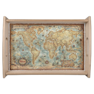 Distress Vintage antique drawn world map Serving Tray