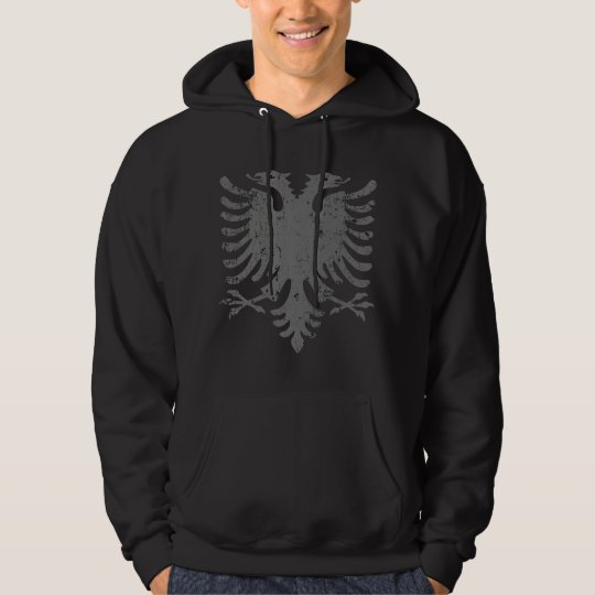 Distressed Albanian Eagle Coat Of Arms Hoodie