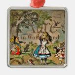 Distressed Alice and Friends Cover Silver-Colored Square Decoration