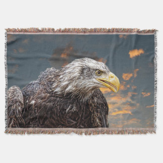Distressed American Eagle Photography Print Throw Blanket
