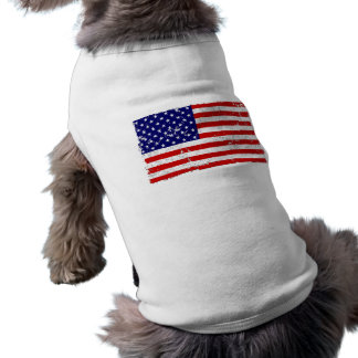 Distressed American Flag Dog T-Shirt