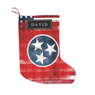 Distressed American Flag & Flag of Tennessee Name Small Christmas Stocking