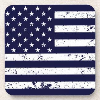Distressed American Flag II Plastic Coaster