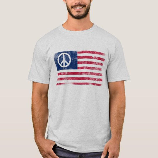 Distressed American Flag & Peace Symbol T-Shirt