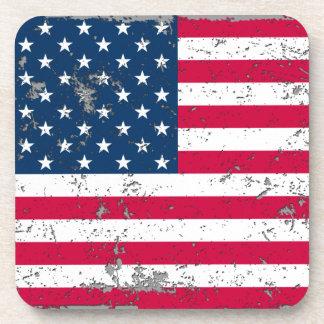 Distressed American Flag Plastic Coaster