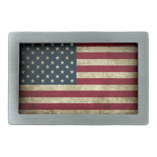 Distressed American Flag Rectangular Belt Buckles