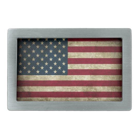 Distressed American Flag Rectangular Belt Buckles