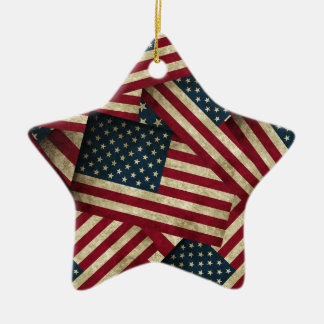 Distressed American Flags Christmas Ornament