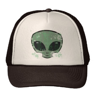 DISTRESSED AND DOT SPLATTER ALIEN HEAD HATS