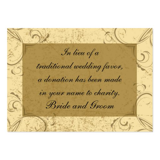 Distressed and Elegant Wedding Charity Favor Card Business Card