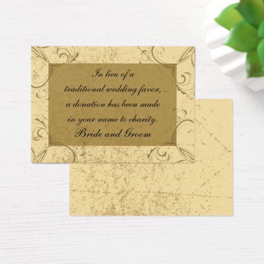 Distressed and Elegant Wedding Charity Favour Card