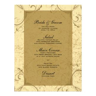 Distressed and Elegant Wedding Menu 21.5 Cm X 28 Cm Flyer