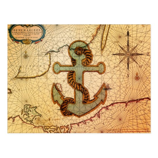 Distressed Antique Nautical Map vintage Anchor Postcard