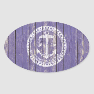 Distressed Antique Wood Print with Anchor Oval Sticker