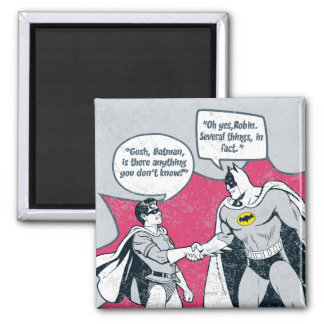 Distressed Batman And Robin Handshake Square Magnet