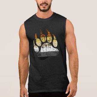 Distressed Bear Pride Flag Bear paw Sleeveless Shirts