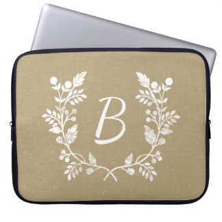 Distressed Beige White Floral Wreath Personalized Laptop Sleeves