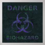 Distressed Biohazard Symbol Poster (purple)